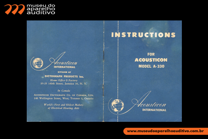 Manual de instru��es do aparelho auditivo transistor Acoustion A-330