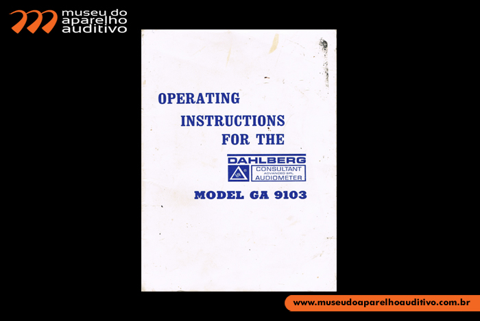 Operating Instructions For The Model GA 9103